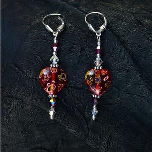 Red Murano Glass heart & sparkle Earrings